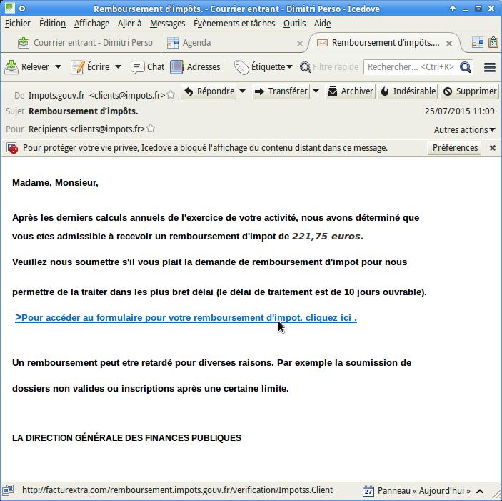 Faux courrier (mais vrai phishing) semblant émaner des services fiscaux
