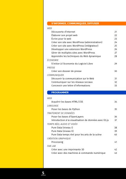 Table des matières dans le catalogue de formations d'Artefacts